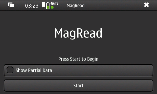 MagRead Start Screen