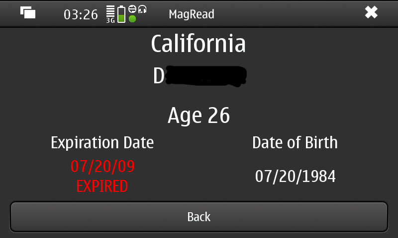 Expired California Driver Licence