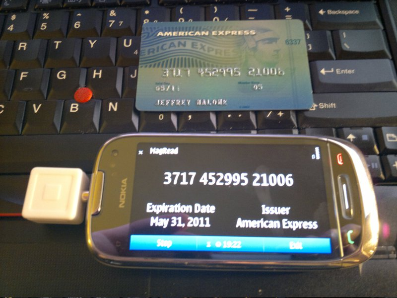 The Nokia C7 with the Amex card it just read
