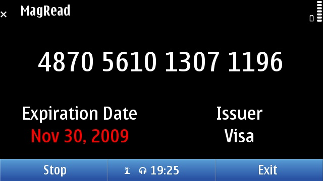 An expired Visa card in MagRead